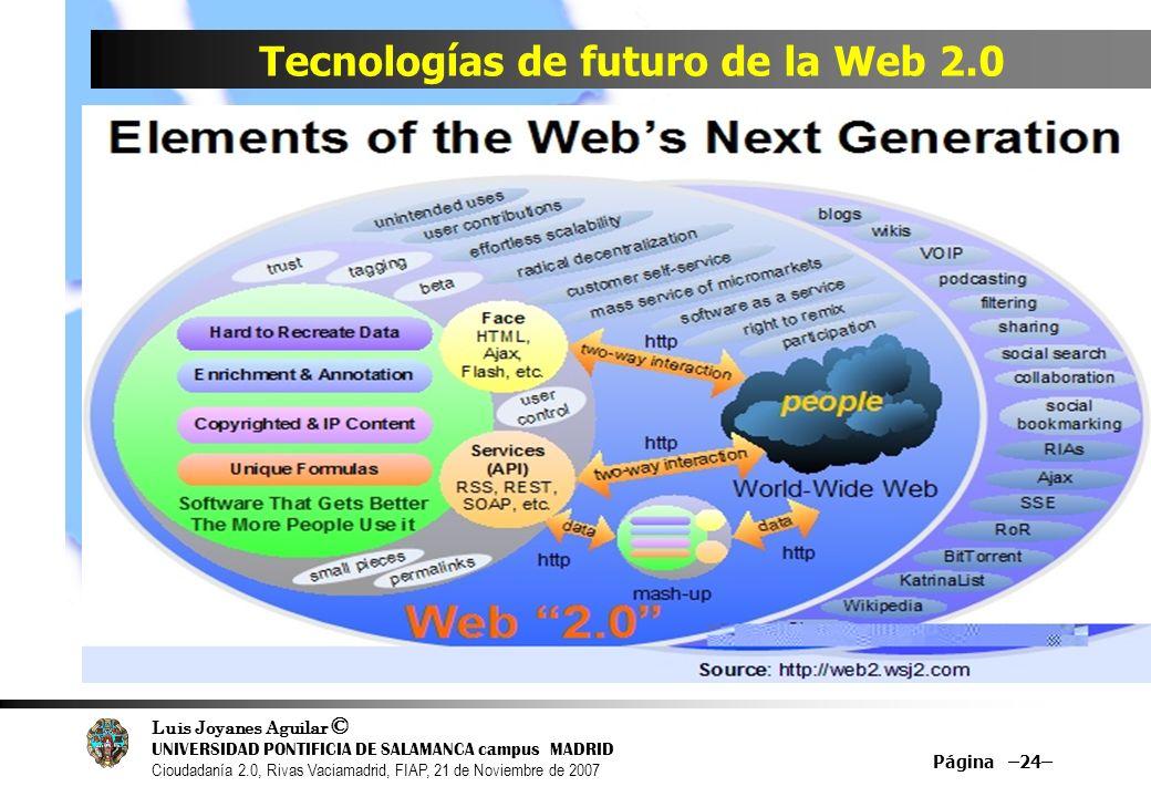 Luis Joyanes Aguilar © UNIVERSIDAD PONTIFICIA DE SALAMANCA campus MADRID Cioudadanía 2.0, Rivas Vaciamadrid, FIAP, 21 de Noviembre de 2007 Página –24– Tecnologías de futuro de la Web 2.0