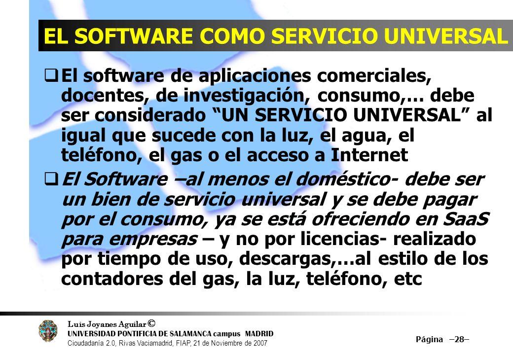 Luis Joyanes Aguilar © UNIVERSIDAD PONTIFICIA DE SALAMANCA campus MADRID Cioudadanía 2.0, Rivas Vaciamadrid, FIAP, 21 de Noviembre de 2007 Página –28–