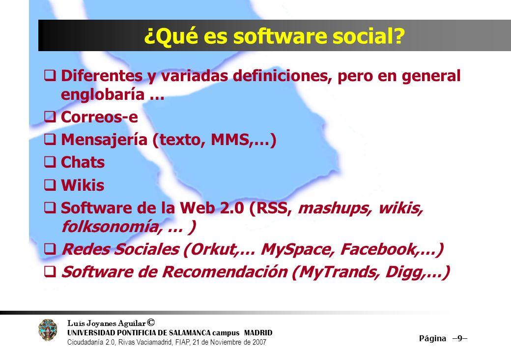 Luis Joyanes Aguilar © UNIVERSIDAD PONTIFICIA DE SALAMANCA campus MADRID Cioudadanía 2.0, Rivas Vaciamadrid, FIAP, 21 de Noviembre de 2007 Página –9– ¿Qué es software social.
