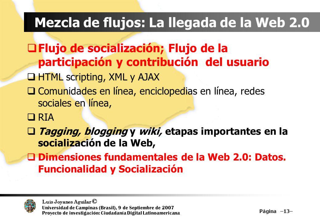 Luis Joyanes Aguilar © Universidad de Campinas (Brasil), 9 de Septiembre de 2007 Proyecto de investigación: Ciudadanía Digital Latinoamericana Mezcla de flujos: La llegada de la Web 2.0 Flujo de socialización; Flujo de la participación y contribución del usuario HTML scripting, XML y AJAX Comunidades en línea, enciclopedias en línea, redes sociales en línea, RIA Tagging, blogging y wiki, etapas importantes en la socialización de la Web, Dimensiones fundamentales de la Web 2.0: Datos.