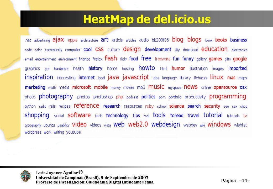Luis Joyanes Aguilar © Universidad de Campinas (Brasil), 9 de Septiembre de 2007 Proyecto de investigación: Ciudadanía Digital Latinoamericana HeatMap de del.icio.us Página –14–