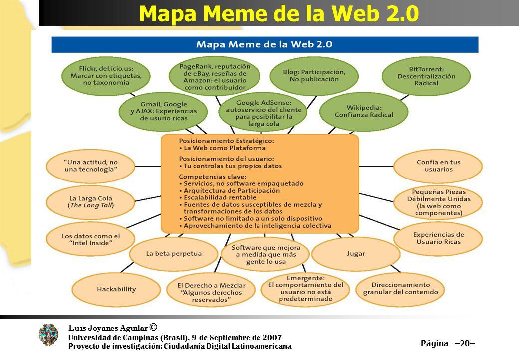 Luis Joyanes Aguilar © Universidad de Campinas (Brasil), 9 de Septiembre de 2007 Proyecto de investigación: Ciudadanía Digital Latinoamericana Mapa Meme de la Web 2.0 Página –20–