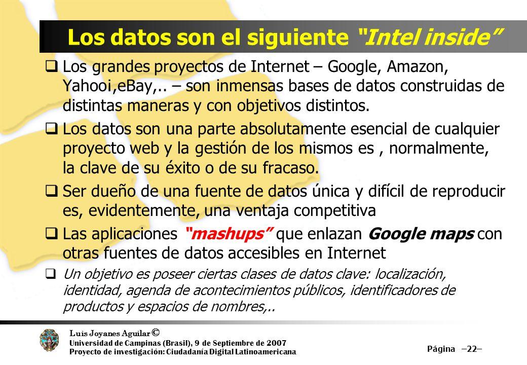 Luis Joyanes Aguilar © Universidad de Campinas (Brasil), 9 de Septiembre de 2007 Proyecto de investigación: Ciudadanía Digital Latinoamericana Los grandes proyectos de Internet – Google, Amazon, Yahoo¡,eBay,..