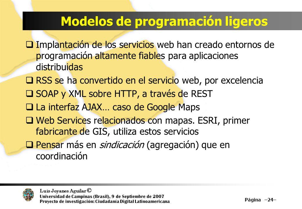 Luis Joyanes Aguilar © Universidad de Campinas (Brasil), 9 de Septiembre de 2007 Proyecto de investigación: Ciudadanía Digital Latinoamericana Modelos