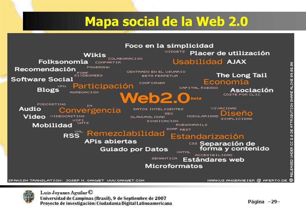 Luis Joyanes Aguilar © Universidad de Campinas (Brasil), 9 de Septiembre de 2007 Proyecto de investigación: Ciudadanía Digital Latinoamericana Mapa social de la Web 2.0 Página –29–