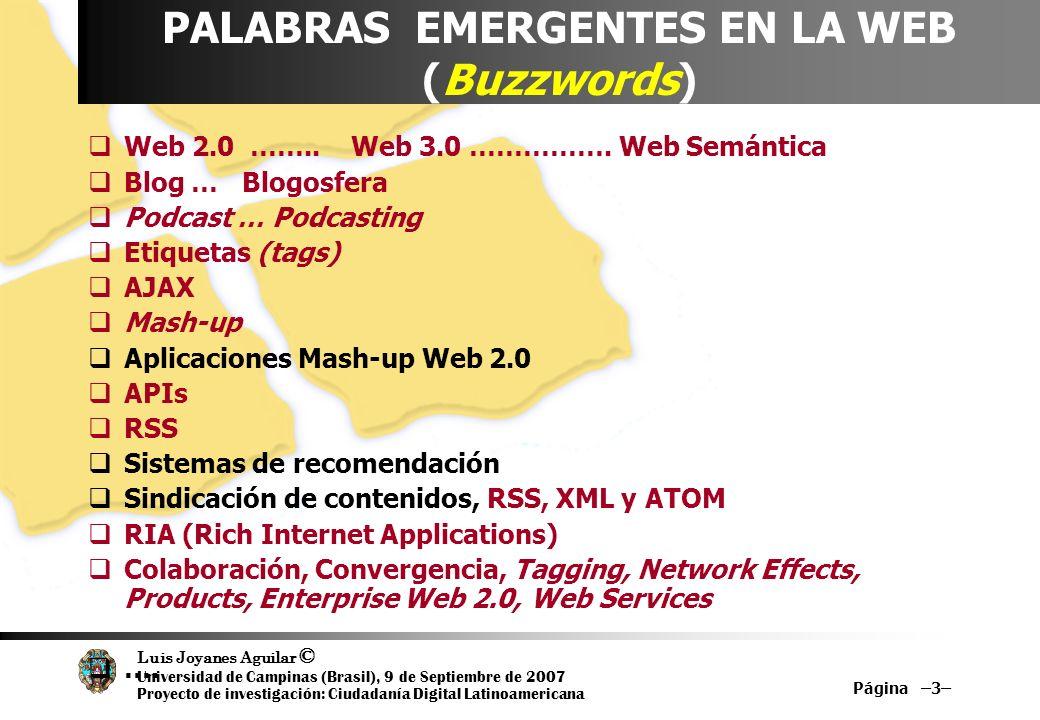Luis Joyanes Aguilar © Universidad de Campinas (Brasil), 9 de Septiembre de 2007 Proyecto de investigación: Ciudadanía Digital Latinoamericana Modelos de programación ligeros Implantación de los servicios web han creado entornos de programación altamente fiables para aplicaciones distribuidas RSS se ha convertido en el servicio web, por excelencia SOAP y XML sobre HTTP, a través de REST La interfaz AJAX… caso de Google Maps Web Services relacionados con mapas.