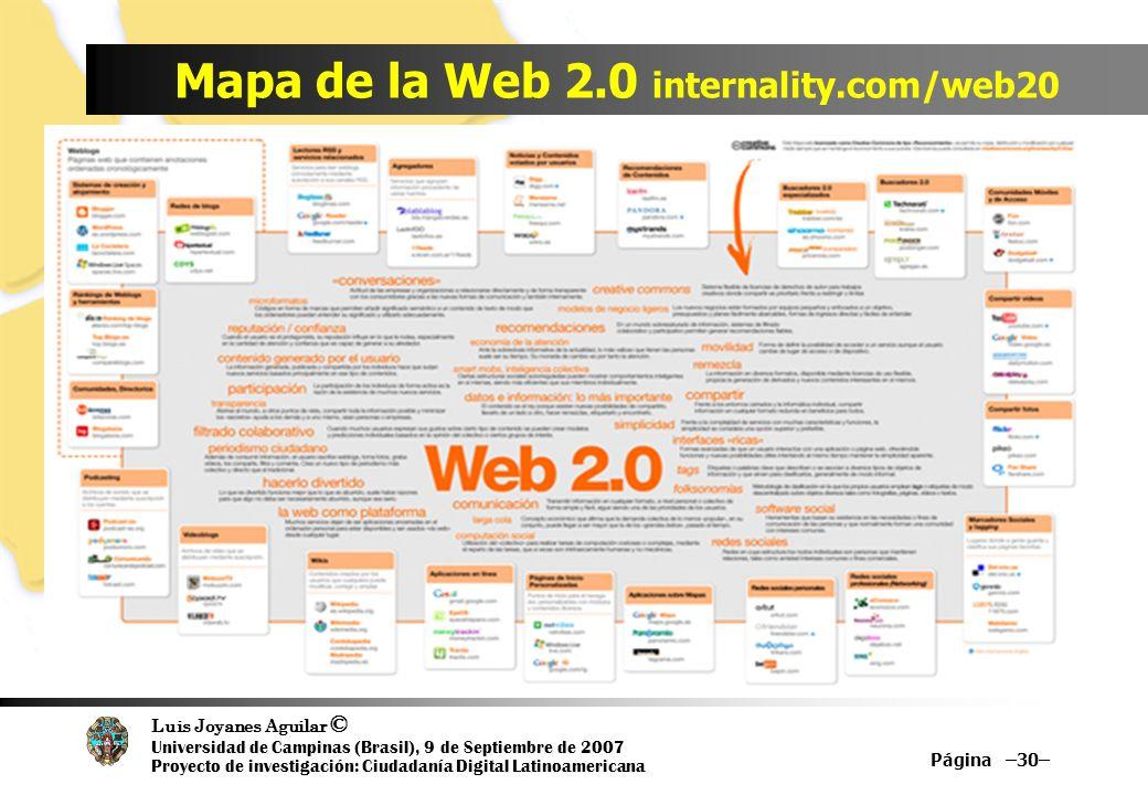 Luis Joyanes Aguilar © Universidad de Campinas (Brasil), 9 de Septiembre de 2007 Proyecto de investigación: Ciudadanía Digital Latinoamericana Mapa de