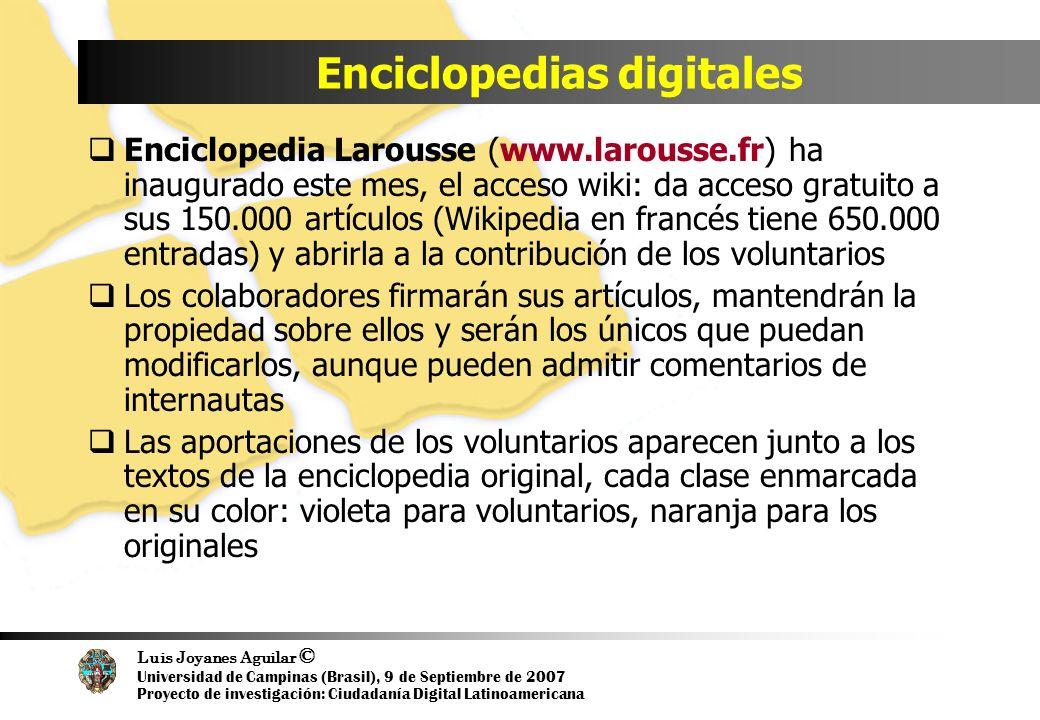 Luis Joyanes Aguilar © Universidad de Campinas (Brasil), 9 de Septiembre de 2007 Proyecto de investigación: Ciudadanía Digital Latinoamericana Enciclo