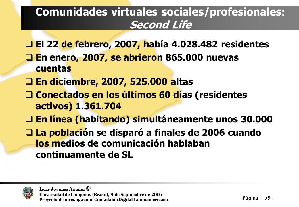Luis Joyanes Aguilar © Universidad de Campinas (Brasil), 9 de Septiembre de 2007 Proyecto de investigación: Ciudadanía Digital Latinoamericana Página –79– Comunidades virtuales sociales/profesionales: Second Life El 22 de febrero, 2007, había 4.028.482 residentes En enero, 2007, se abrieron 865.000 nuevas cuentas En diciembre, 2007, 525.000 altas Conectados en los últimos 60 días (residentes activos) 1.361.704 En línea (habitando) simultáneamente unos 30.000 La población se disparó a finales de 2006 cuando los medios de comunicación hablaban continuamente de SL
