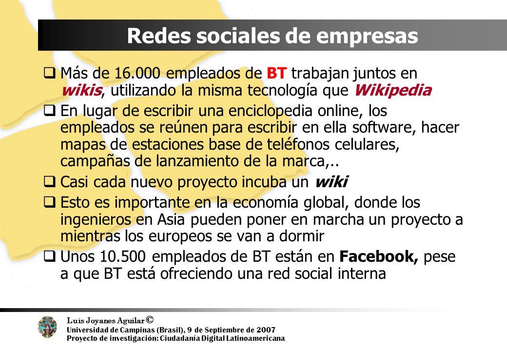Luis Joyanes Aguilar © Universidad de Campinas (Brasil), 9 de Septiembre de 2007 Proyecto de investigación: Ciudadanía Digital Latinoamericana Redes s