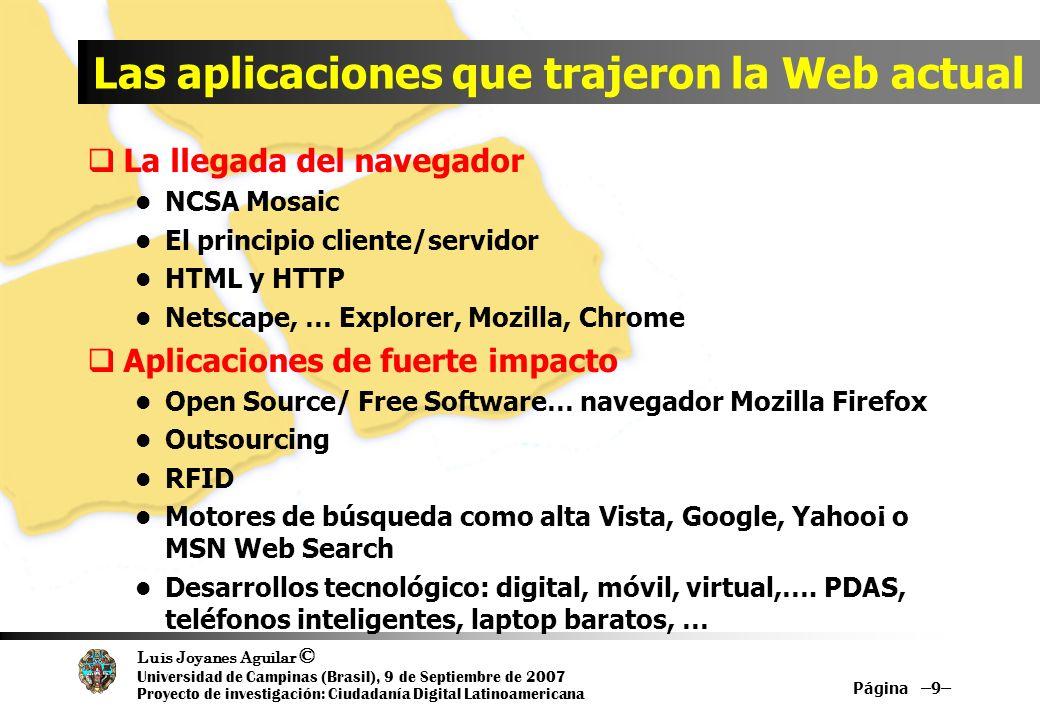 Luis Joyanes Aguilar © Universidad de Campinas (Brasil), 9 de Septiembre de 2007 Proyecto de investigación: Ciudadanía Digital Latinoamericana Página –120– Referencias Web What is Web 2.0 (en inglés, 30-09-2005) www.oreillynet.com/pub/a/oreilly/tim/news/2005/09/30/w hat-is-web-20.html?page=1 What is Web 2.0 (en español) //sociedaddelainformacion.telefonica.es/jsp/articulos/detal le.jsp?elem=2146 Blog Web 2.0 de Dion Hincheliffe //web2.wsj2.com SOAWebServices Journal www.webservices.sys-con.com Introducting Ajax and OpenAjax www.openajax.org