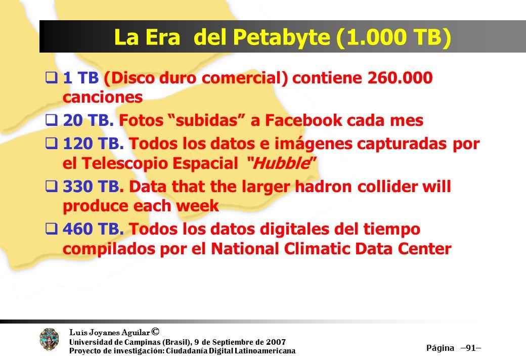 Luis Joyanes Aguilar © Universidad de Campinas (Brasil), 9 de Septiembre de 2007 Proyecto de investigación: Ciudadanía Digital Latinoamericana La Era del Petabyte (1.000 TB) 1 TB (Disco duro comercial) contiene 260.000 canciones 20 TB.