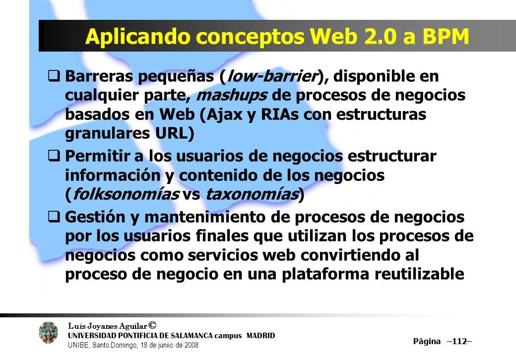Luis Joyanes Aguilar © UNIVERSIDAD PONTIFICIA DE SALAMANCA campus MADRID UNIBE, Santo Domingo, 18 de juniio de 2008 Página –112– Aplicando conceptos W