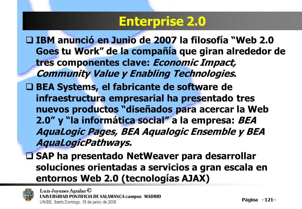 Luis Joyanes Aguilar © UNIVERSIDAD PONTIFICIA DE SALAMANCA campus MADRID UNIBE, Santo Domingo, 18 de juniio de 2008 Página –121– Enterprise 2.0 IBM an