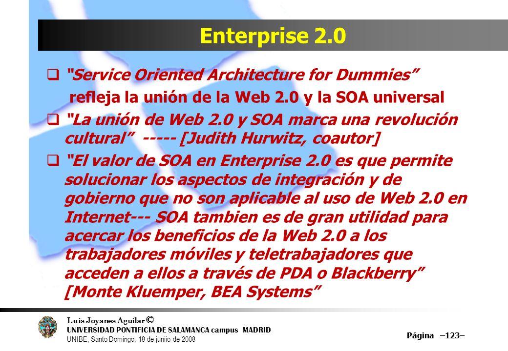 Luis Joyanes Aguilar © UNIVERSIDAD PONTIFICIA DE SALAMANCA campus MADRID UNIBE, Santo Domingo, 18 de juniio de 2008 Página –123– Enterprise 2.0 Servic
