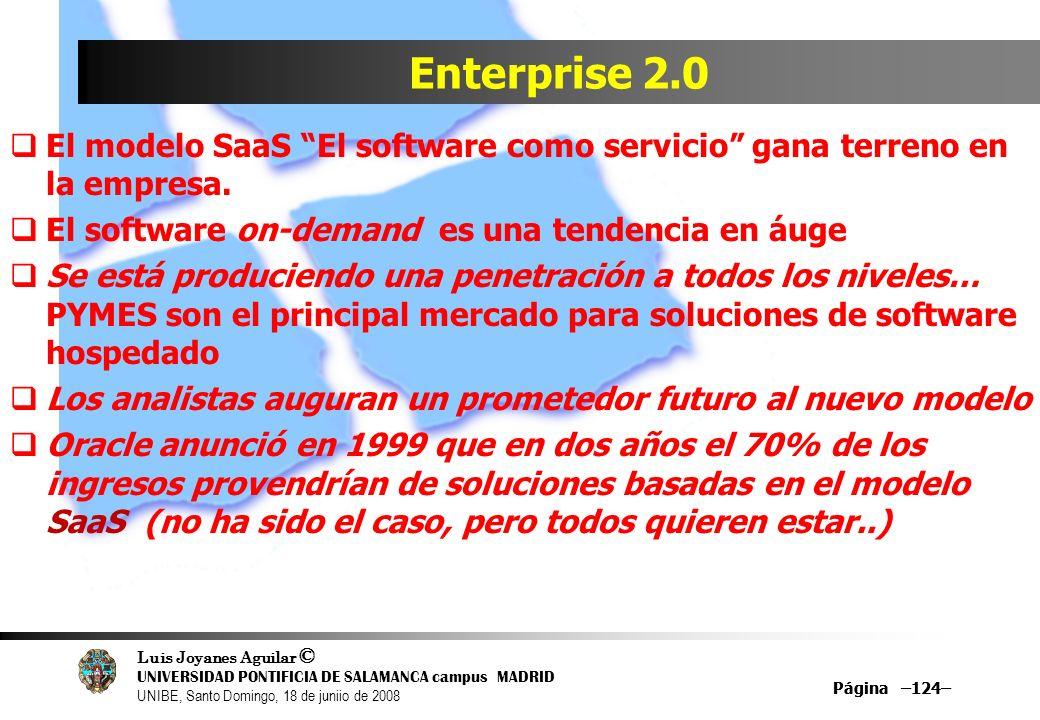Luis Joyanes Aguilar © UNIVERSIDAD PONTIFICIA DE SALAMANCA campus MADRID UNIBE, Santo Domingo, 18 de juniio de 2008 Página –124– Enterprise 2.0 El mod