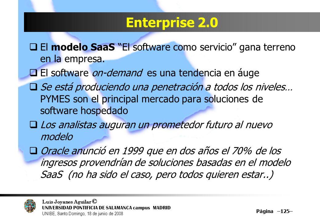 Luis Joyanes Aguilar © UNIVERSIDAD PONTIFICIA DE SALAMANCA campus MADRID UNIBE, Santo Domingo, 18 de juniio de 2008 Página –125– Enterprise 2.0 El mod