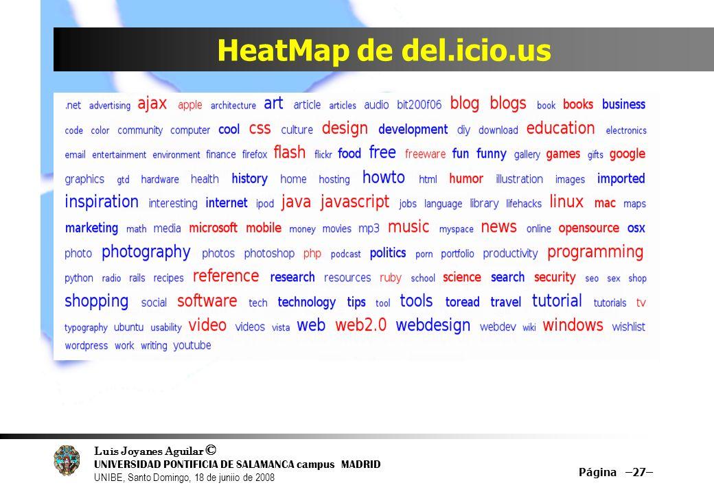 Luis Joyanes Aguilar © UNIVERSIDAD PONTIFICIA DE SALAMANCA campus MADRID UNIBE, Santo Domingo, 18 de juniio de 2008 HeatMap de del.icio.us Página –27–