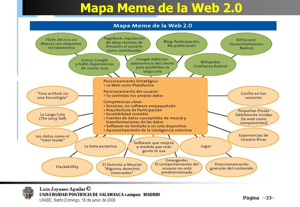 Luis Joyanes Aguilar © UNIVERSIDAD PONTIFICIA DE SALAMANCA campus MADRID UNIBE, Santo Domingo, 18 de juniio de 2008 Mapa Meme de la Web 2.0 Página –33
