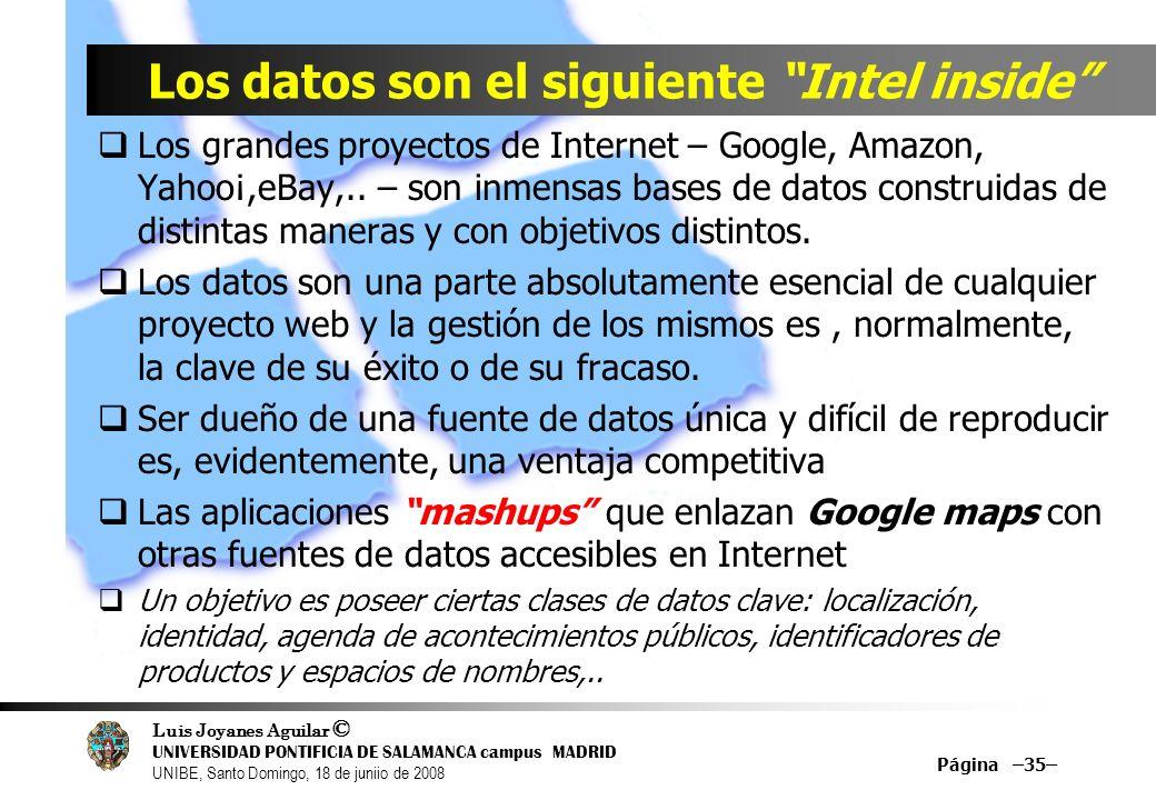 Luis Joyanes Aguilar © UNIVERSIDAD PONTIFICIA DE SALAMANCA campus MADRID UNIBE, Santo Domingo, 18 de juniio de 2008 Los grandes proyectos de Internet