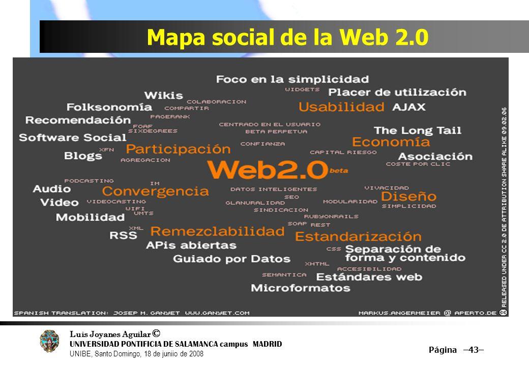 Luis Joyanes Aguilar © UNIVERSIDAD PONTIFICIA DE SALAMANCA campus MADRID UNIBE, Santo Domingo, 18 de juniio de 2008 Mapa social de la Web 2.0 Página –