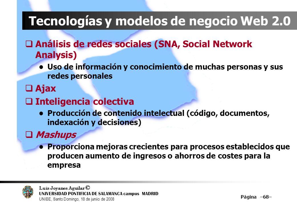 Luis Joyanes Aguilar © UNIVERSIDAD PONTIFICIA DE SALAMANCA campus MADRID UNIBE, Santo Domingo, 18 de juniio de 2008 Página –68– Tecnologías y modelos