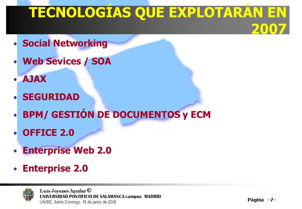 Luis Joyanes Aguilar © UNIVERSIDAD PONTIFICIA DE SALAMANCA campus MADRID UNIBE, Santo Domingo, 18 de juniio de 2008 Página –7– Social Networking Web S