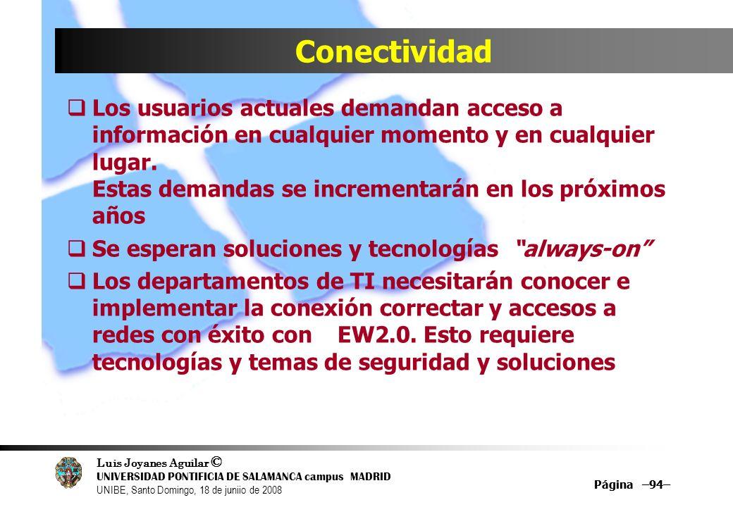 Luis Joyanes Aguilar © UNIVERSIDAD PONTIFICIA DE SALAMANCA campus MADRID UNIBE, Santo Domingo, 18 de juniio de 2008 Página –94– Conectividad Los usuar
