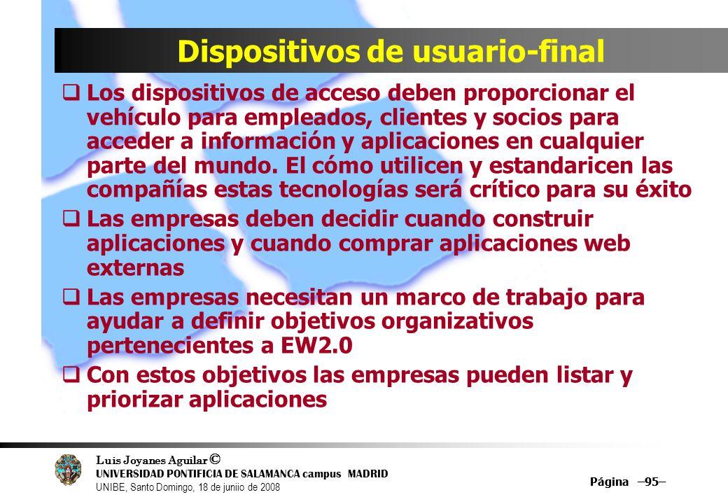 Luis Joyanes Aguilar © UNIVERSIDAD PONTIFICIA DE SALAMANCA campus MADRID UNIBE, Santo Domingo, 18 de juniio de 2008 Página –95– Dispositivos de usuari