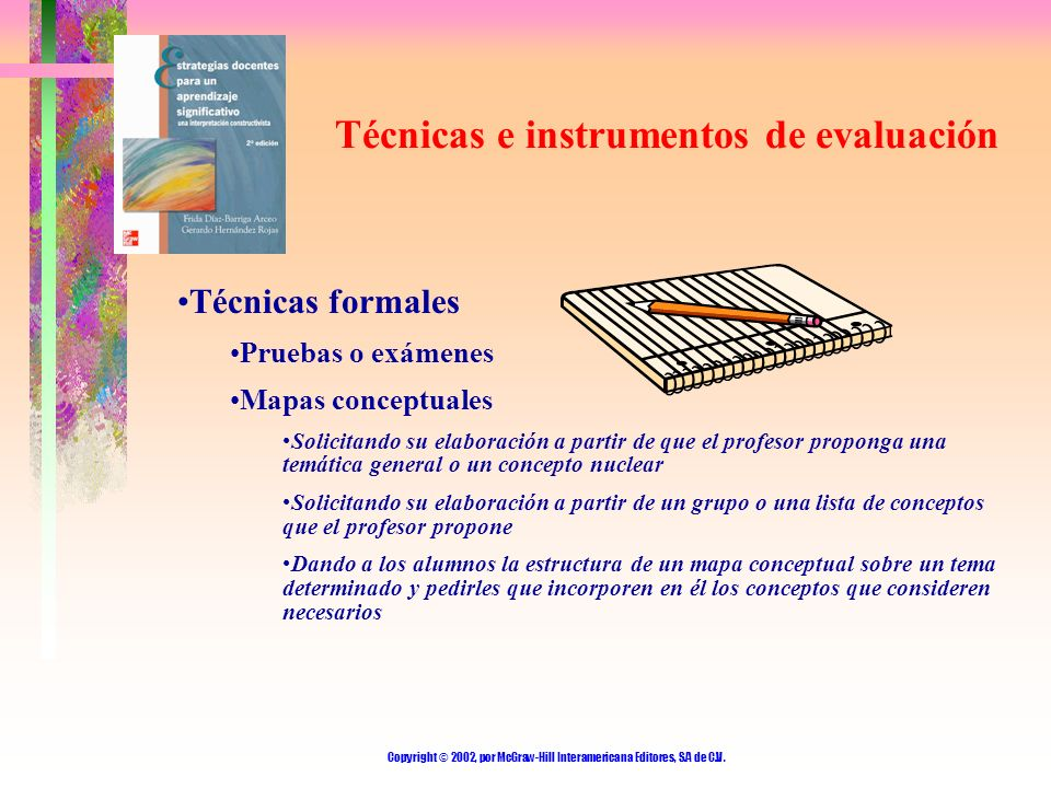 Copyright © 2002, por McGraw-Hill Interamericana Editores, S.A de C.V. Técnicas e instrumentos de evaluación Técnicas formales Pruebas o exámenes Mapa