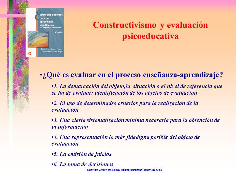 Copyright © 2002, por McGraw-Hill Interamericana Editores, S.A de C.V. Constructivismo y evaluación psicoeducativa ¿Qué es evaluar en el proceso enseñ