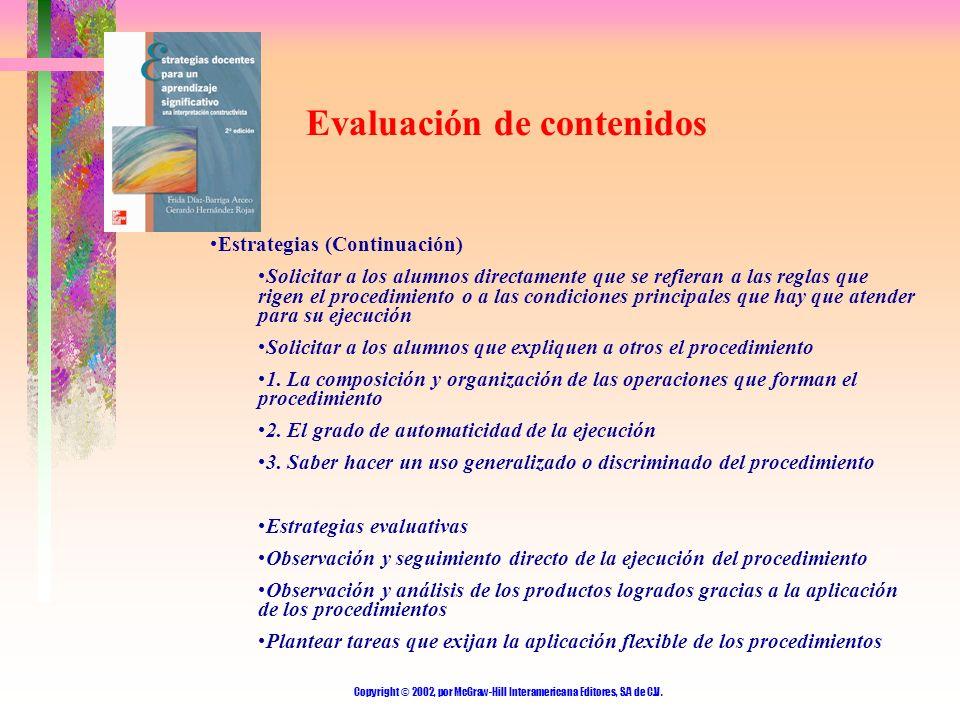 Copyright © 2002, por McGraw-Hill Interamericana Editores, S.A de C.V. Evaluación de contenidos Estrategias (Continuación) Solicitar a los alumnos dir