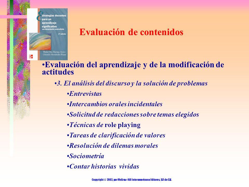 Copyright © 2002, por McGraw-Hill Interamericana Editores, S.A de C.V. Evaluación de contenidos Evaluación del aprendizaje y de la modificación de act