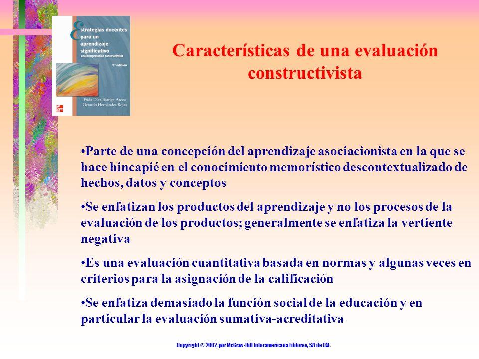 Copyright © 2002, por McGraw-Hill Interamericana Editores, S.A de C.V. Características de una evaluación constructivista Parte de una concepción del a