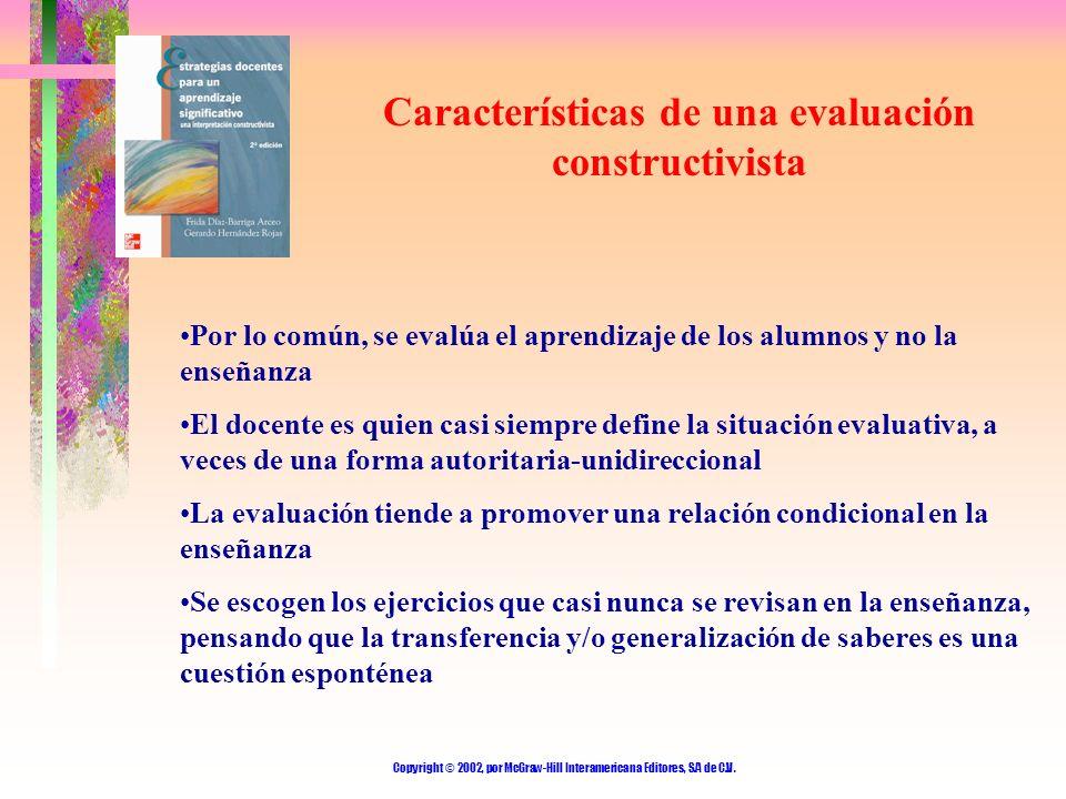Copyright © 2002, por McGraw-Hill Interamericana Editores, S.A de C.V. Características de una evaluación constructivista Por lo común, se evalúa el ap