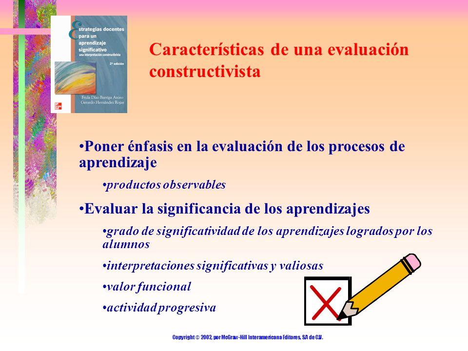 Copyright © 2002, por McGraw-Hill Interamericana Editores, S.A de C.V. Características de una evaluación constructivista Poner énfasis en la evaluació