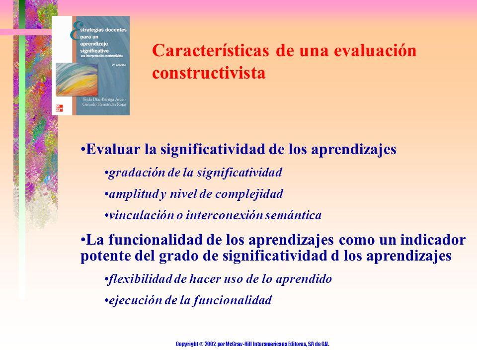 Copyright © 2002, por McGraw-Hill Interamericana Editores, S.A de C.V. Características de una evaluación constructivista Evaluar la significatividad d