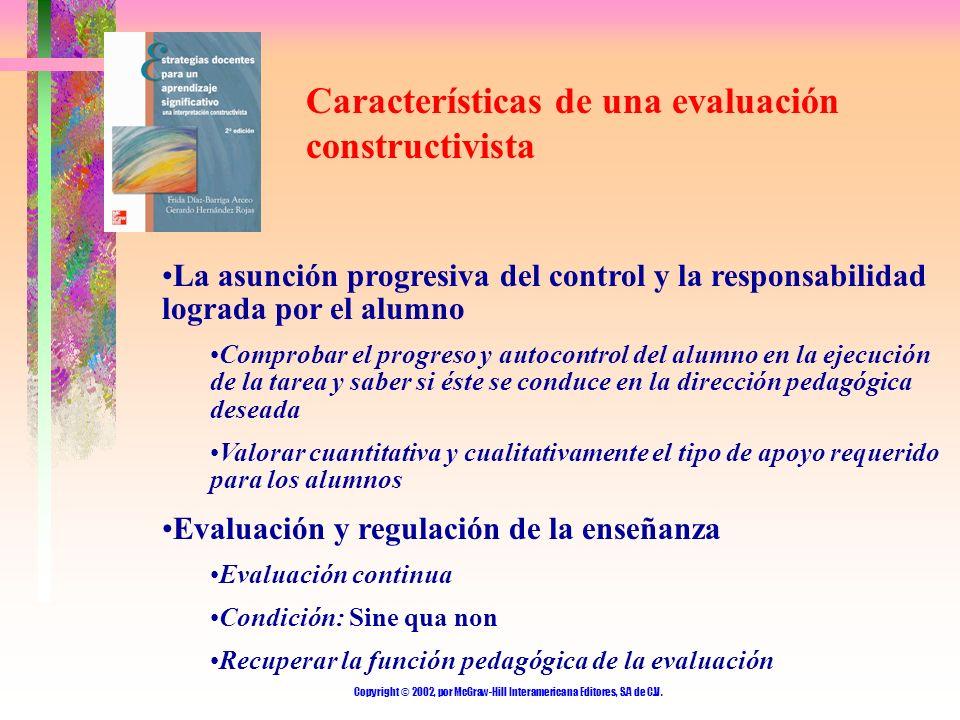 Copyright © 2002, por McGraw-Hill Interamericana Editores, S.A de C.V. Características de una evaluación constructivista La asunción progresiva del co