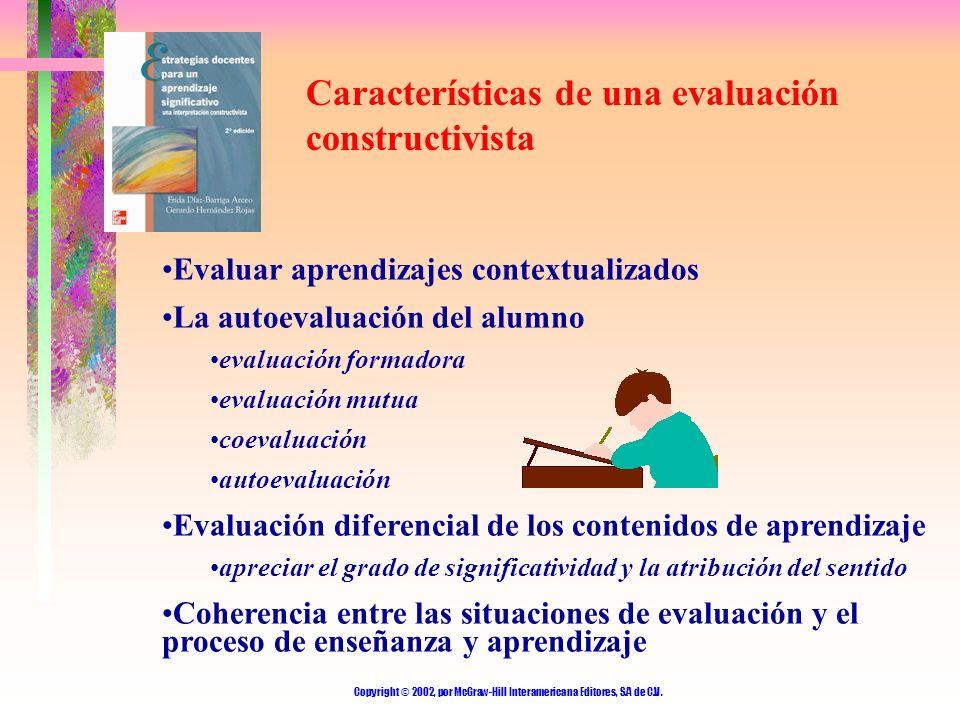 Copyright © 2002, por McGraw-Hill Interamericana Editores, S.A de C.V. Características de una evaluación constructivista Evaluar aprendizajes contextu
