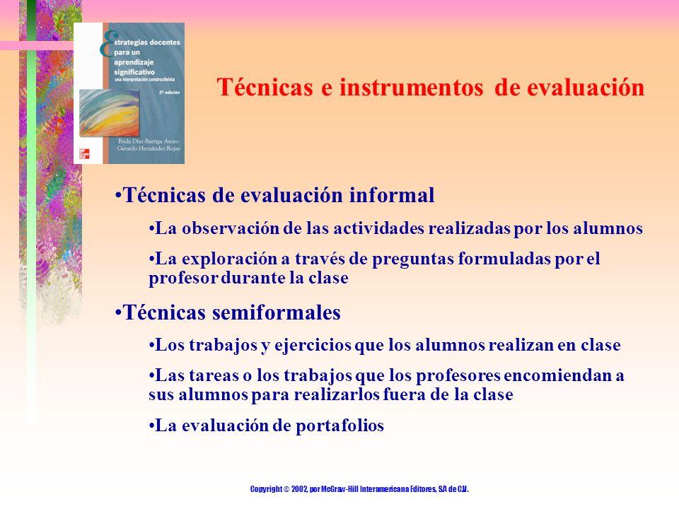 Copyright © 2002, por McGraw-Hill Interamericana Editores, S.A de C.V. Técnicas e instrumentos de evaluación Técnicas de evaluación informal La observ