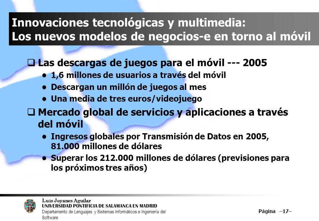 Luis Joyanes Aguilar UNIVERSIDAD PONTIFICIA DE SALAMANCA EN MADRID Departamento de Lenguajes y Sistemas Informáticos e Ingeniería del Software Página –17– Innovaciones tecnológicas y multimedia: Los nuevos modelos de negocios-e en torno al móvil Las descargas de juegos para el móvil --- 2005 1,6 millones de usuarios a través del móvil Descargan un millón de juegos al mes Una media de tres euros/videojuego Mercado global de servicios y aplicaciones a través del móvil Ingresos globales por Transmisión de Datos en 2005, 81.000 millones de dólares Superar los 212.000 millones de dólares (previsiones para los próximos tres años)