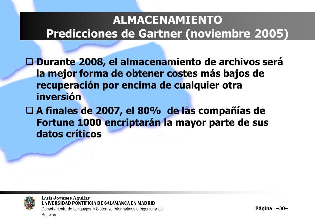 Luis Joyanes Aguilar UNIVERSIDAD PONTIFICIA DE SALAMANCA EN MADRID Departamento de Lenguajes y Sistemas Informáticos e Ingeniería del Software Página –30– ALMACENAMIENTO Predicciones de Gartner (noviembre 2005) Durante 2008, el almacenamiento de archivos será la mejor forma de obtener costes más bajos de recuperación por encima de cualquier otra inversión A finales de 2007, el 80% de las compañías de Fortune 1000 encriptarán la mayor parte de sus datos críticos