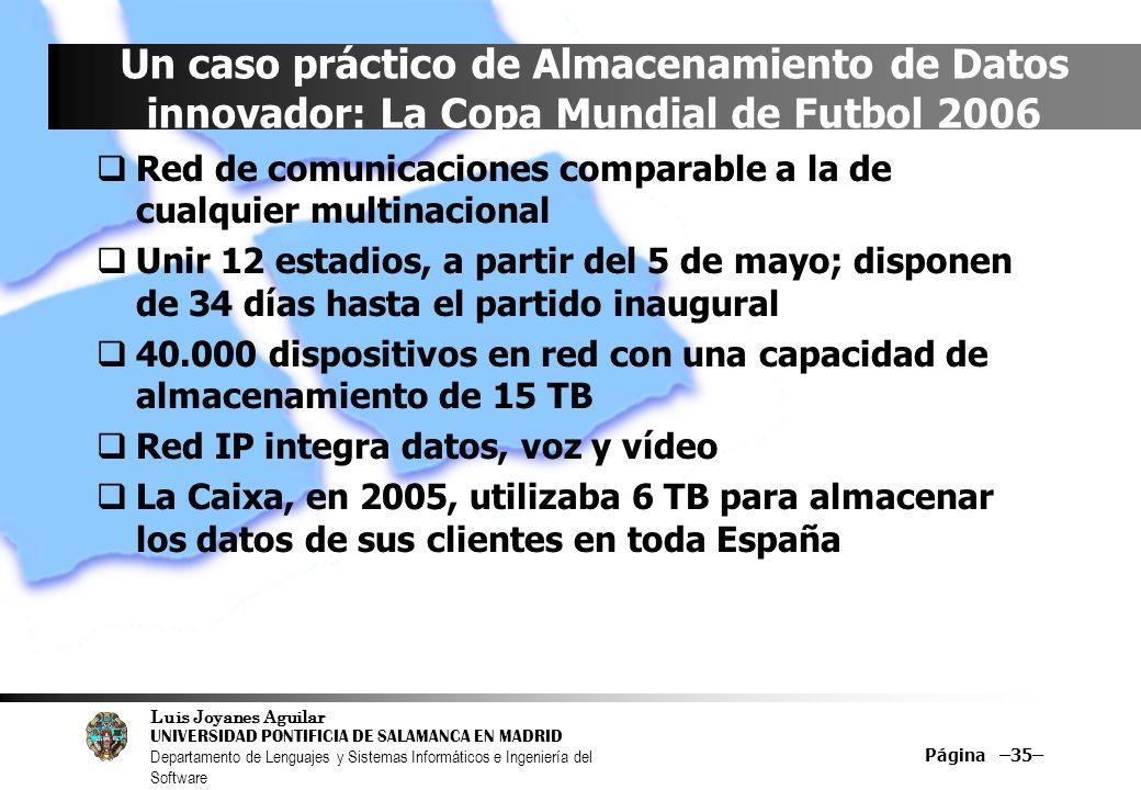 Luis Joyanes Aguilar UNIVERSIDAD PONTIFICIA DE SALAMANCA EN MADRID Departamento de Lenguajes y Sistemas Informáticos e Ingeniería del Software Página –35– Un caso práctico de Almacenamiento de Datos innovador: La Copa Mundial de Futbol 2006 Red de comunicaciones comparable a la de cualquier multinacional Unir 12 estadios, a partir del 5 de mayo; disponen de 34 días hasta el partido inaugural 40.000 dispositivos en red con una capacidad de almacenamiento de 15 TB Red IP integra datos, voz y vídeo La Caixa, en 2005, utilizaba 6 TB para almacenar los datos de sus clientes en toda España