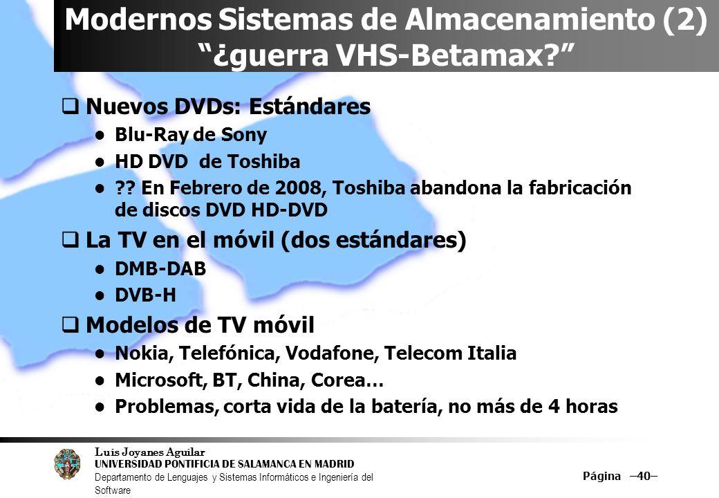 Luis Joyanes Aguilar UNIVERSIDAD PONTIFICIA DE SALAMANCA EN MADRID Departamento de Lenguajes y Sistemas Informáticos e Ingeniería del Software Página –40– Modernos Sistemas de Almacenamiento (2) ¿guerra VHS-Betamax.