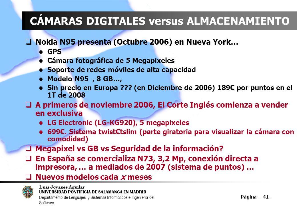 Luis Joyanes Aguilar UNIVERSIDAD PONTIFICIA DE SALAMANCA EN MADRID Departamento de Lenguajes y Sistemas Informáticos e Ingeniería del Software Página –41– CÁMARAS DIGITALES versus ALMACENAMIENTO Nokia N95 presenta (Octubre 2006) en Nueva York… GPS Cámara fotográfica de 5 Megapixeles Soporte de redes móviles de alta capacidad Modelo N95, 8 GB…, Sin precio en Europa ??.
