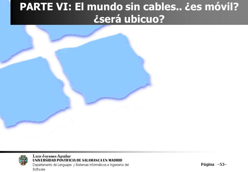 Luis Joyanes Aguilar UNIVERSIDAD PONTIFICIA DE SALAMANCA EN MADRID Departamento de Lenguajes y Sistemas Informáticos e Ingeniería del Software Página –53– PARTE VI: El mundo sin cables..