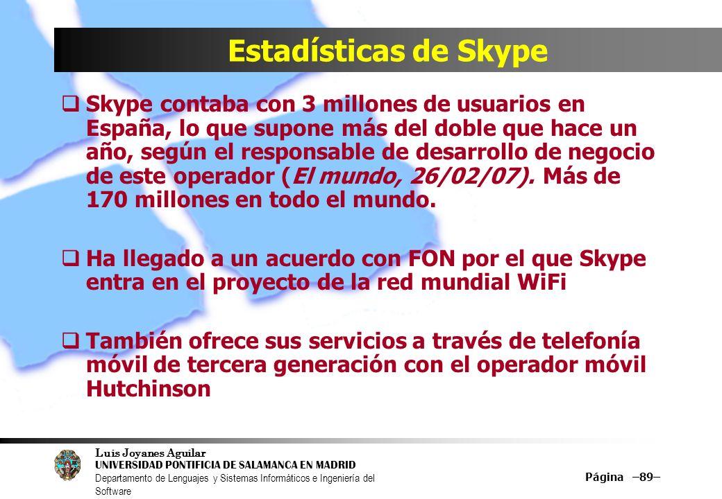 Luis Joyanes Aguilar UNIVERSIDAD PONTIFICIA DE SALAMANCA EN MADRID Departamento de Lenguajes y Sistemas Informáticos e Ingeniería del Software Página –89– Estadísticas de Skype Skype contaba con 3 millones de usuarios en España, lo que supone más del doble que hace un año, según el responsable de desarrollo de negocio de este operador (El mundo, 26/02/07).