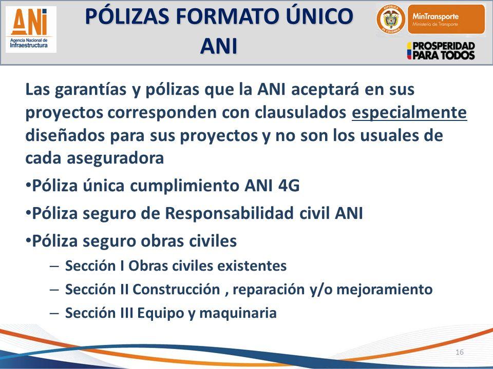 PÓLIZAS FORMATO ÚNICO ANI Las garantías y pólizas que la ANI aceptará en sus proyectos corresponden con clausulados especialmente diseñados para sus p