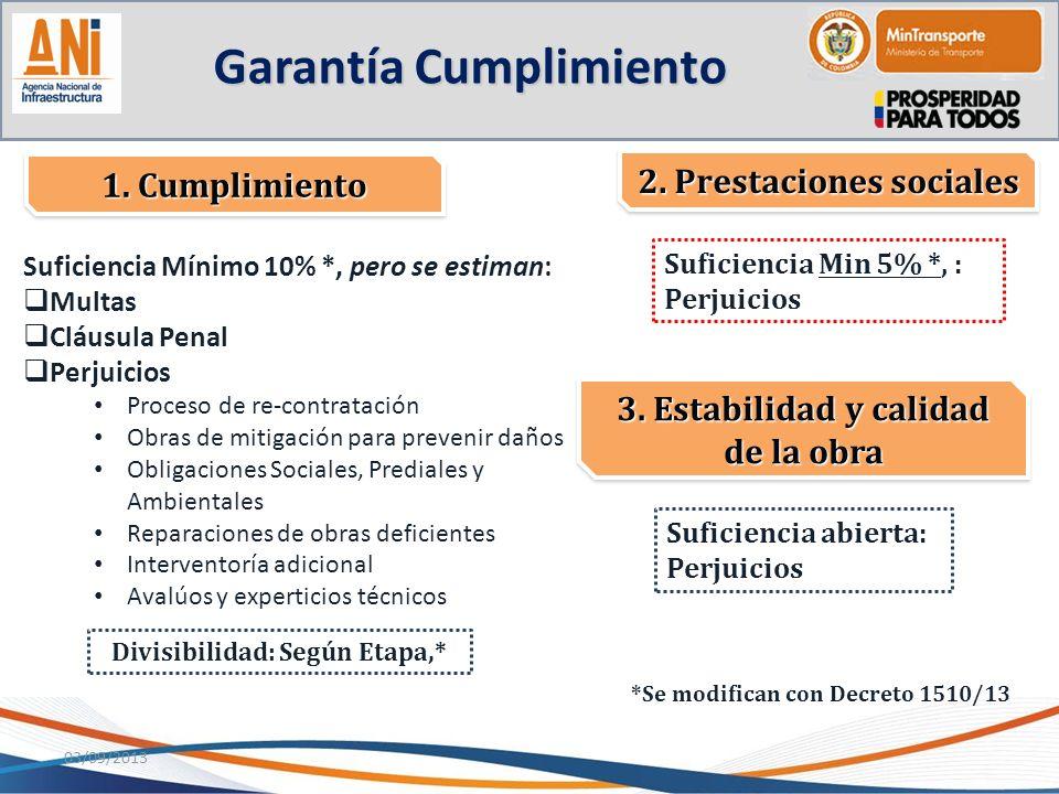 Suficiencia Mínimo 10% *, pero se estiman: Multas Cláusula Penal Perjuicios Proceso de re-contratación Obras de mitigación para prevenir daños Obligac