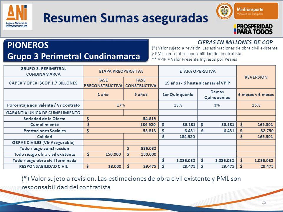 Resumen Sumas aseguradas 25 PIONEROS Grupo 3 Perimetral Cundinamarca PIONEROS Grupo 3 Perimetral Cundinamarca CIFRAS EN MILLONES DE COP (*) Valor suje
